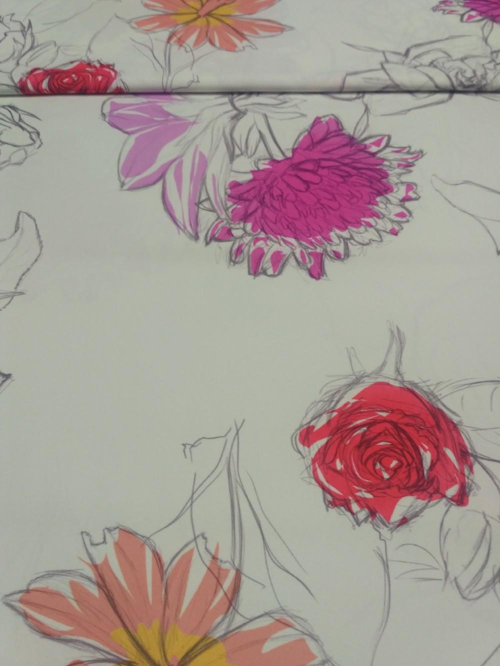 dekoračka béžovo  oranž.fial.velké květy  160