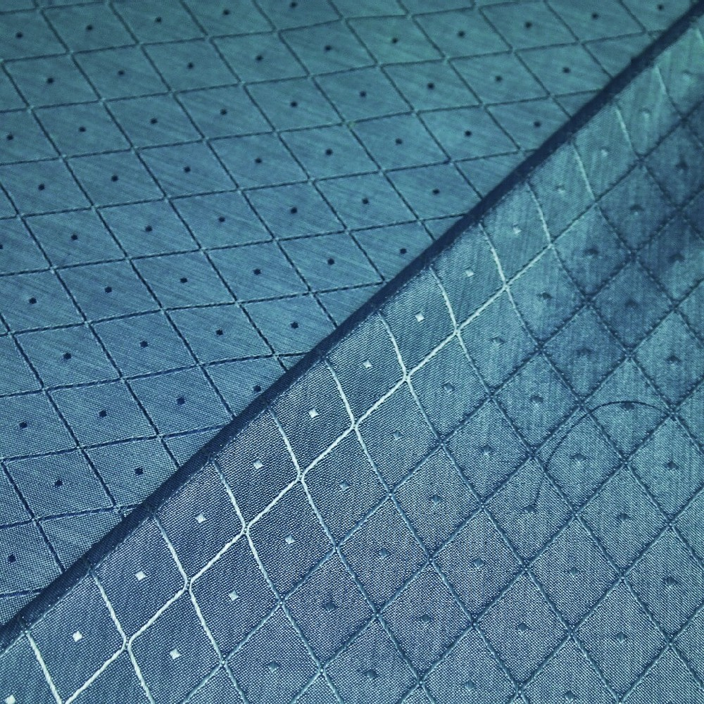 dekorační polyester kovově modrý-lesk-koso-tečka