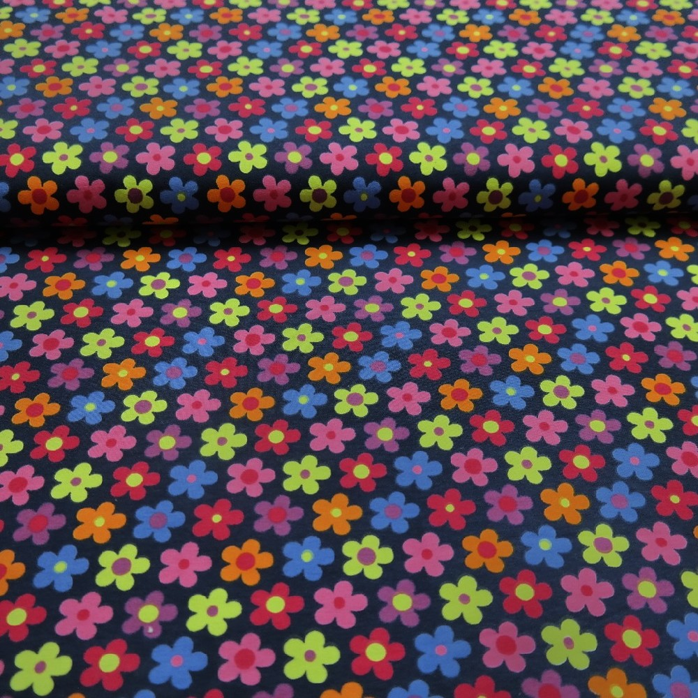úplet tm.modrý,barevné květy