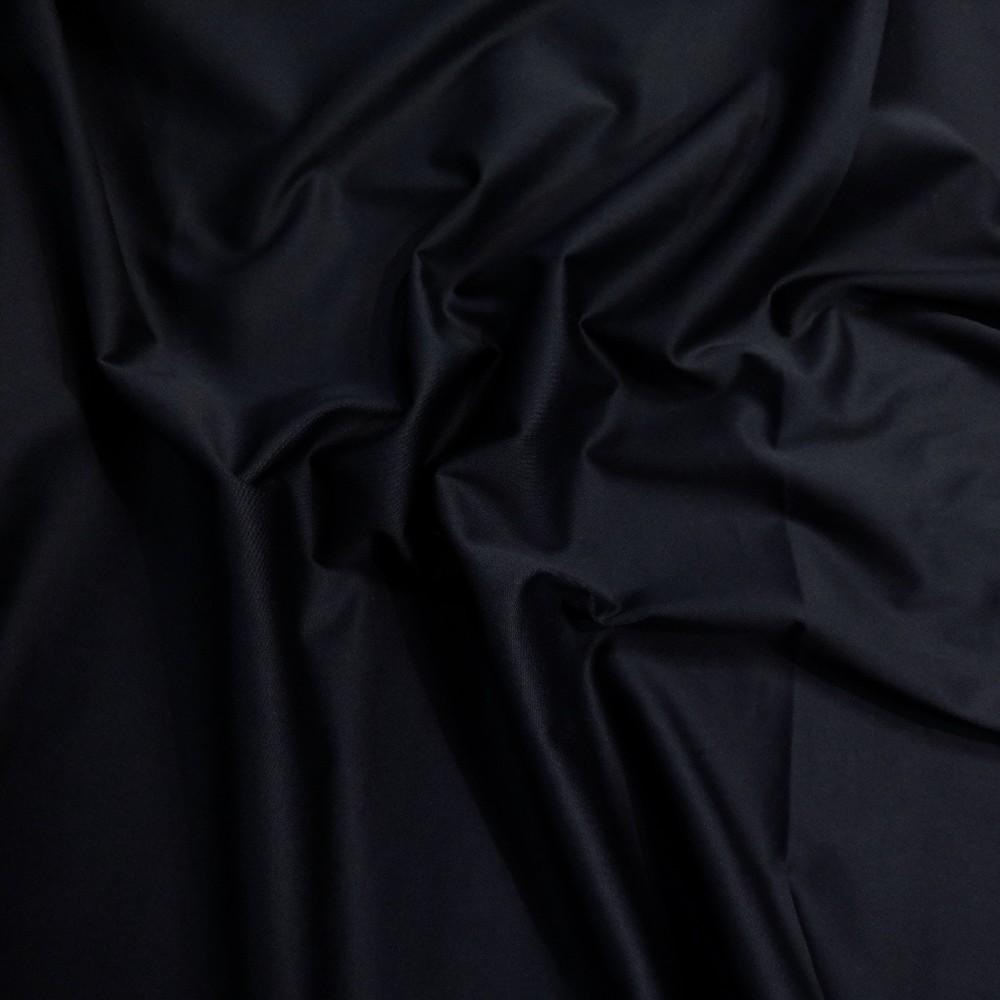 bavlněný tm. modrý satén elastický