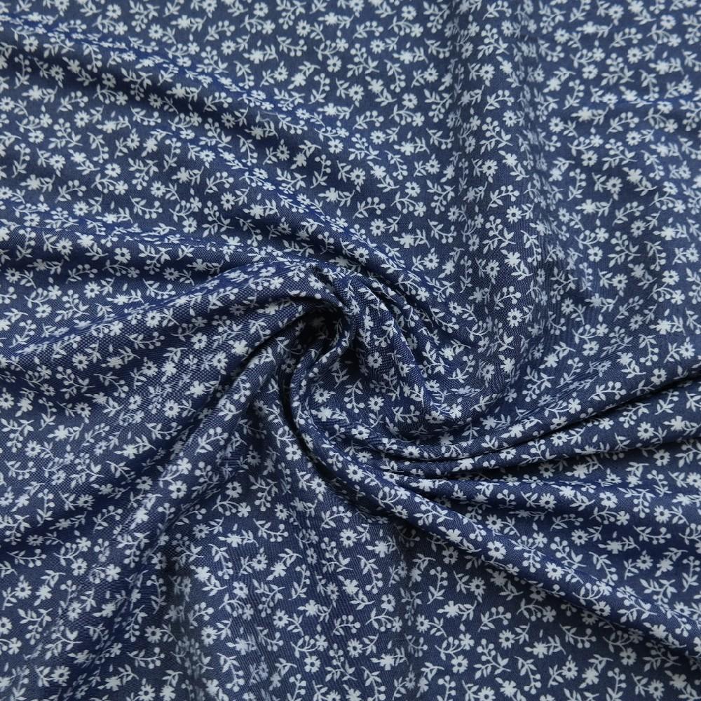 bavlna tm.modrá,bílá kytička,3%spandex