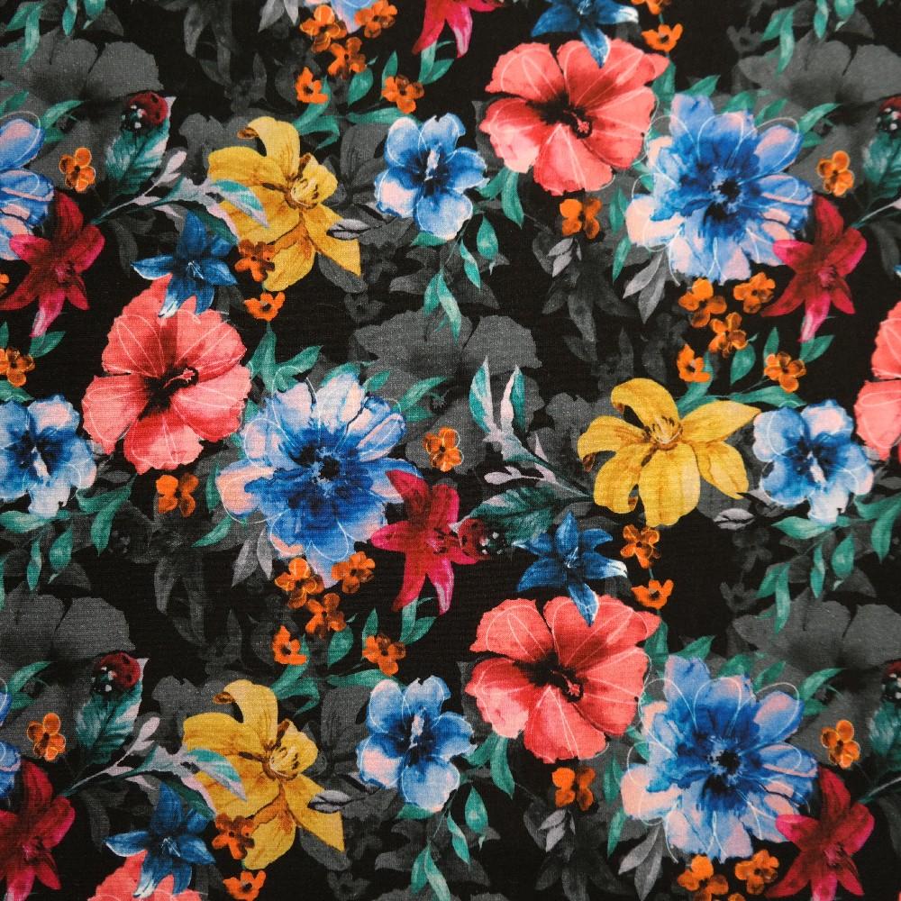 úplet černý s barev. květy