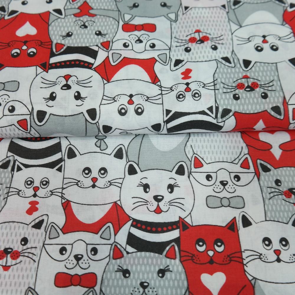 bavlna bílá,kočky červ/černé
