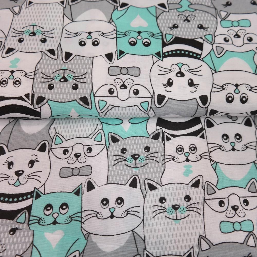 bavlna bílá,kočky čer/tyrkys