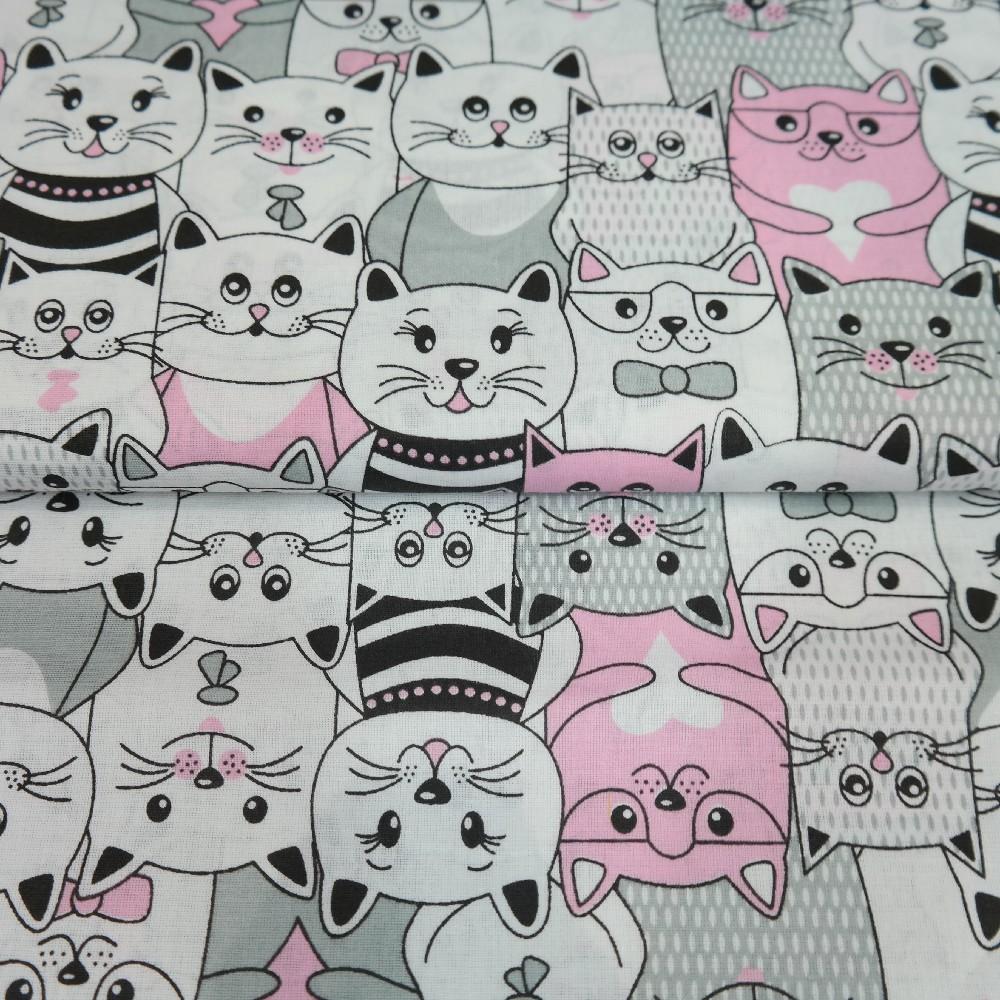 bavlna bílá,kočky čern/růž