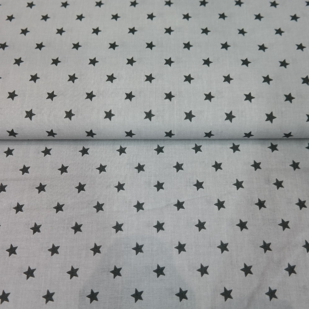 bavlna šedá,černé hvězdičky