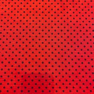 bavlna červená puntík