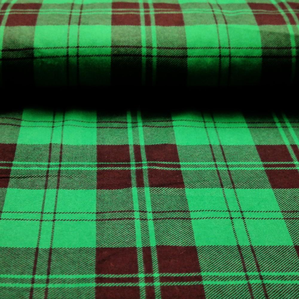 flanel zelená kostka