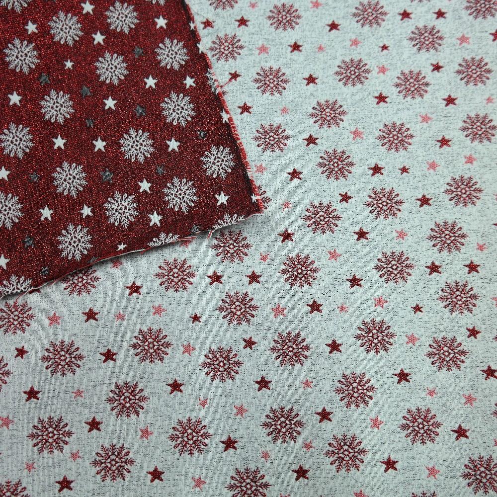 dekoračka vánoční,béž/červ.vločky,hvězdy
