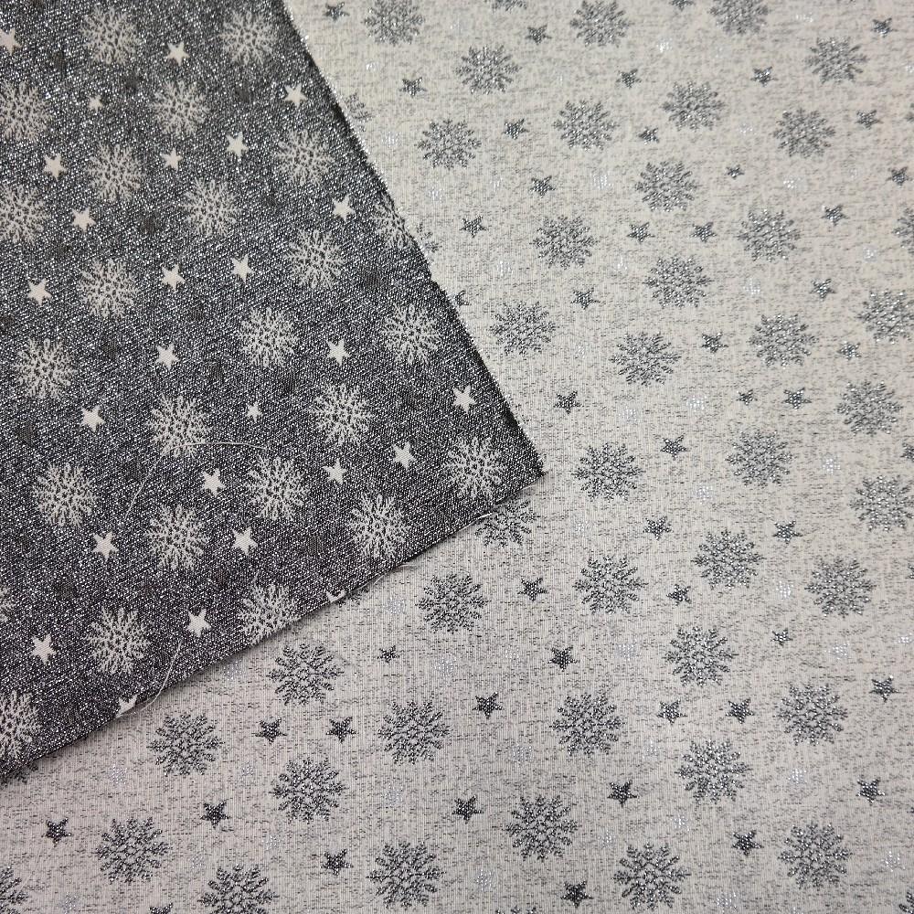 dekoračka vánoční-béž/stříbrné vločky,hvězdy