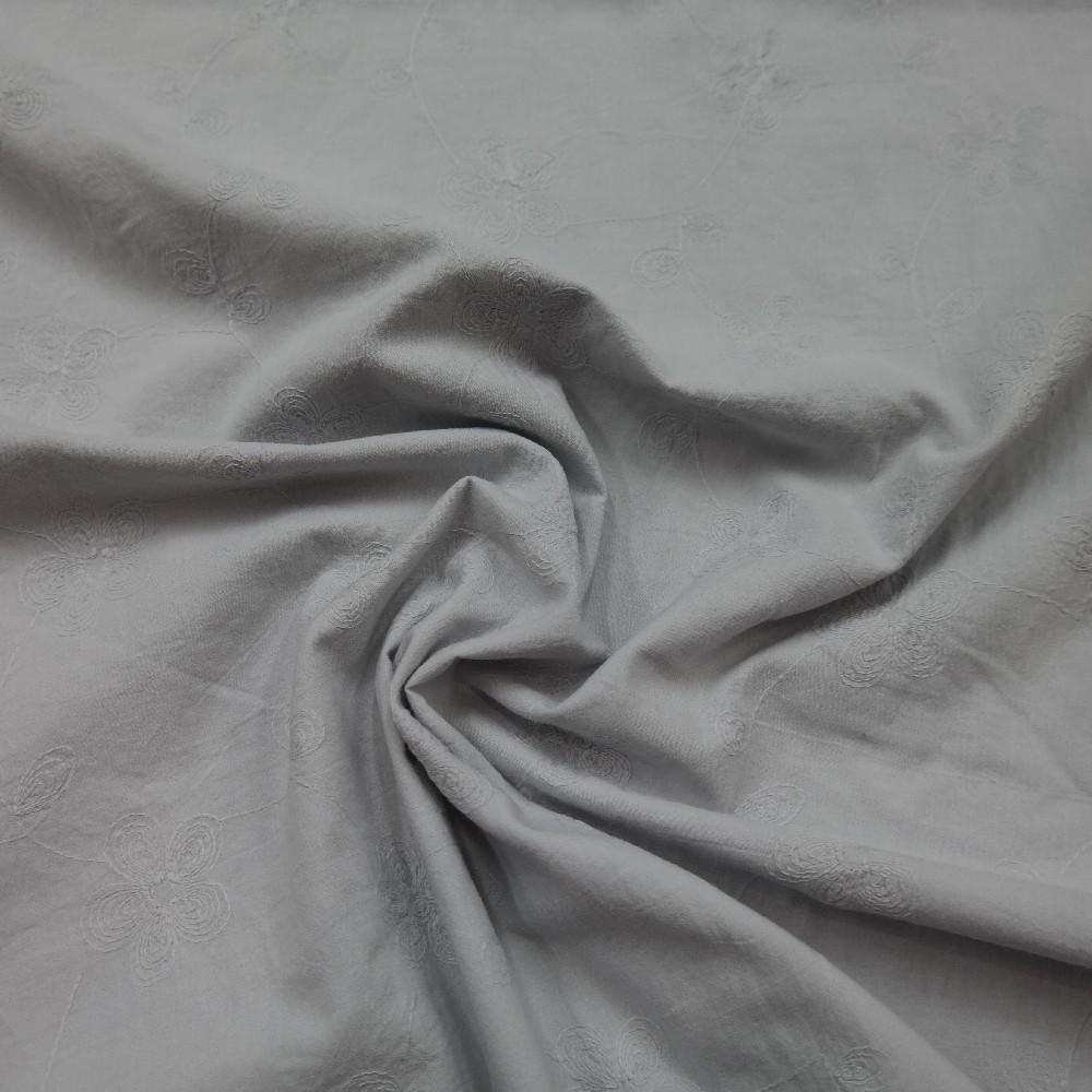 bavlna vyšívaná šedá š.140cm