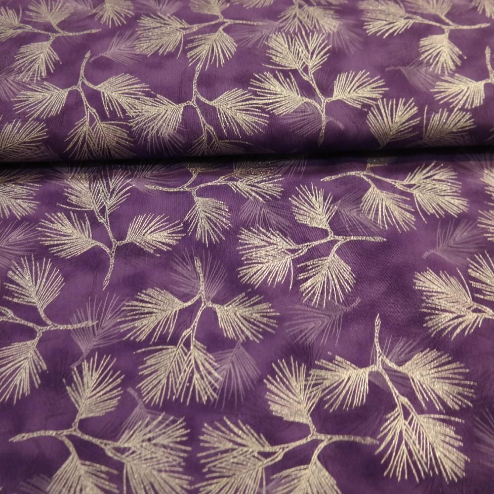 bavlna fialová ,stříbrné větvička,110cm