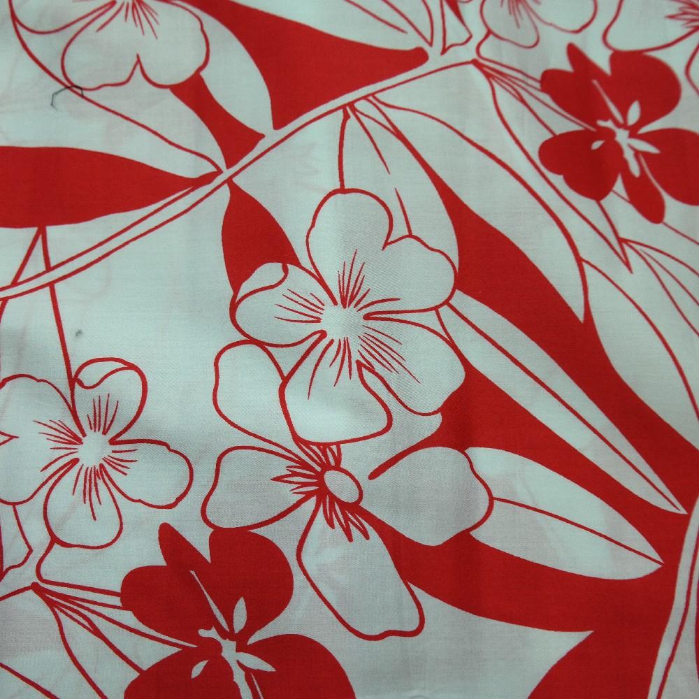 bavlna/popelín bílý červený květ