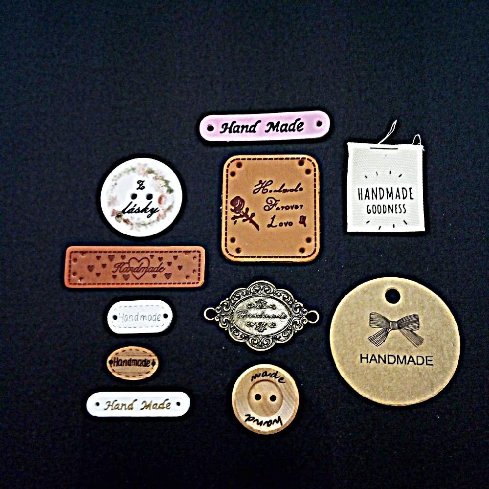 štítek Hand Made růžový