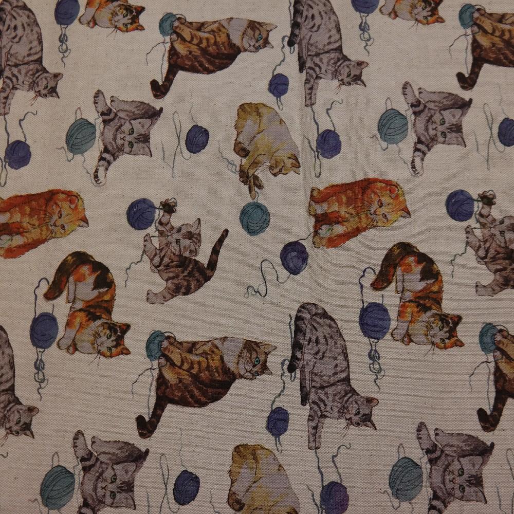 loneta béžová,kočky,140cm
