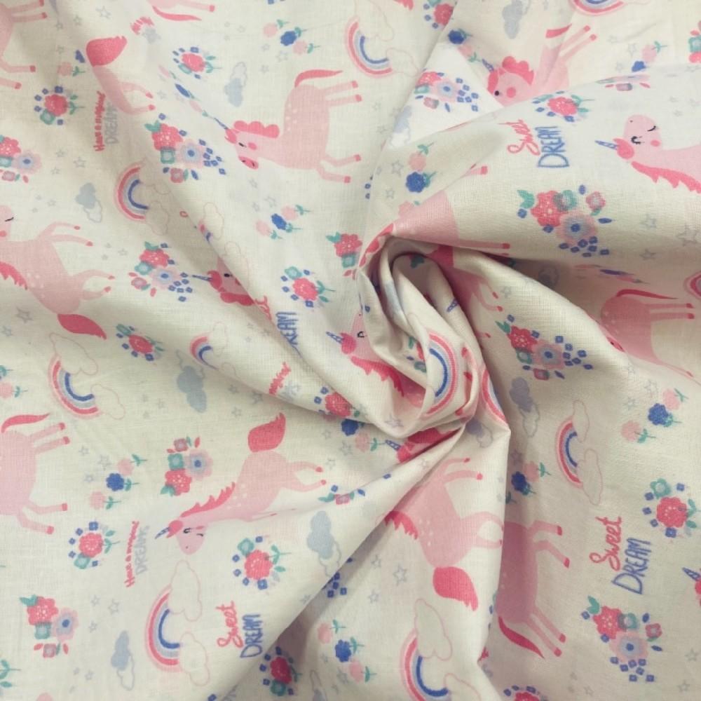 bavlna bílá,růžoví jednorožci