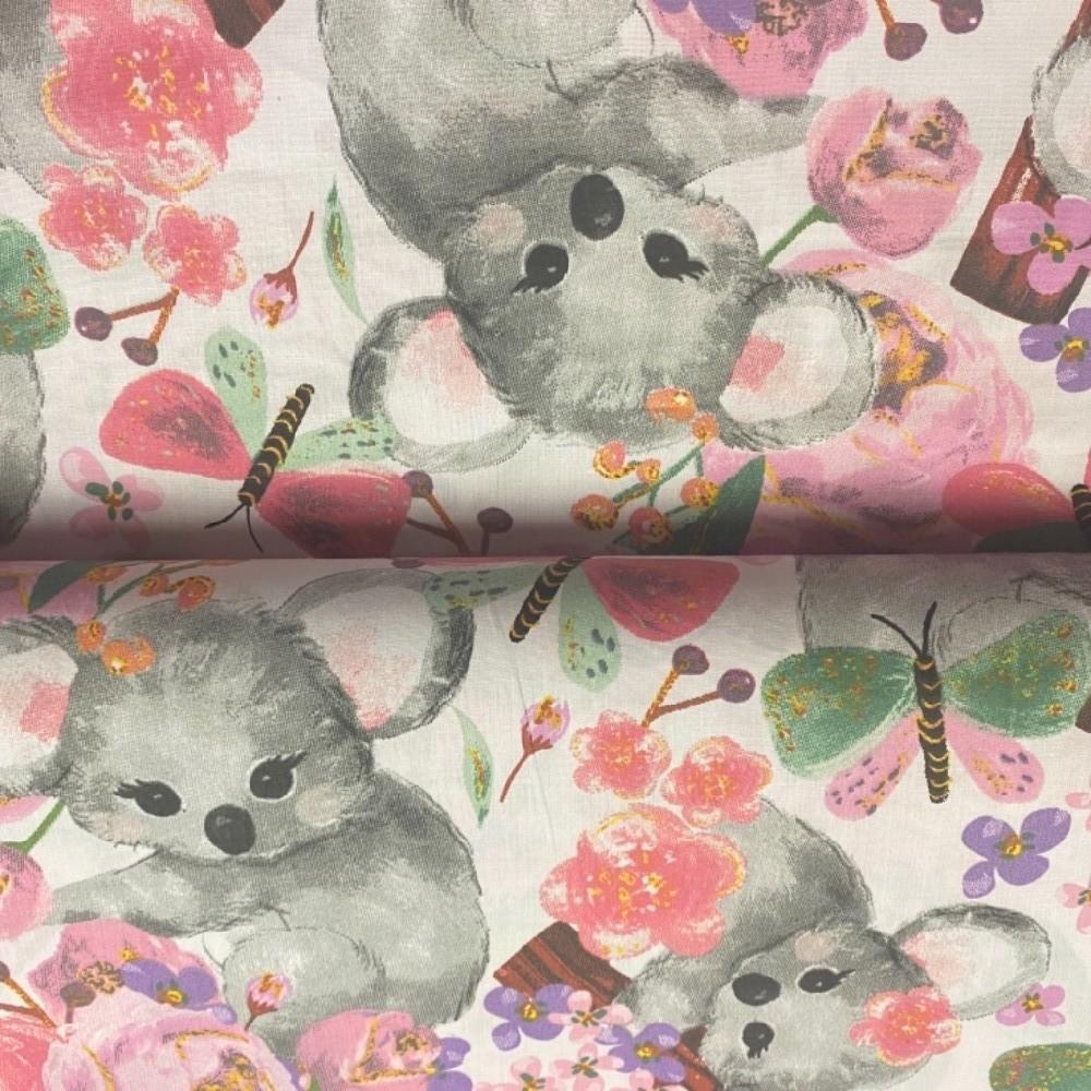 bavlna bílo růžová šedivá Panda