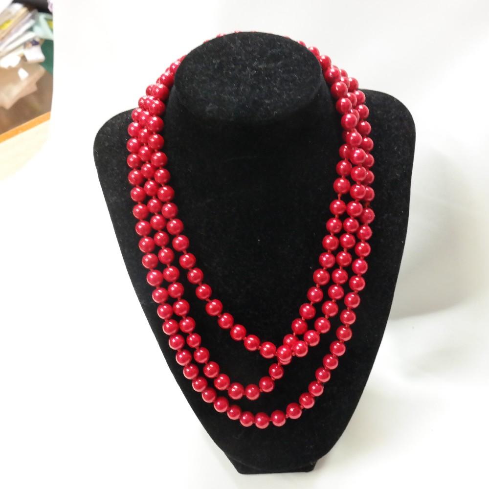 náhrdelník perličky červené