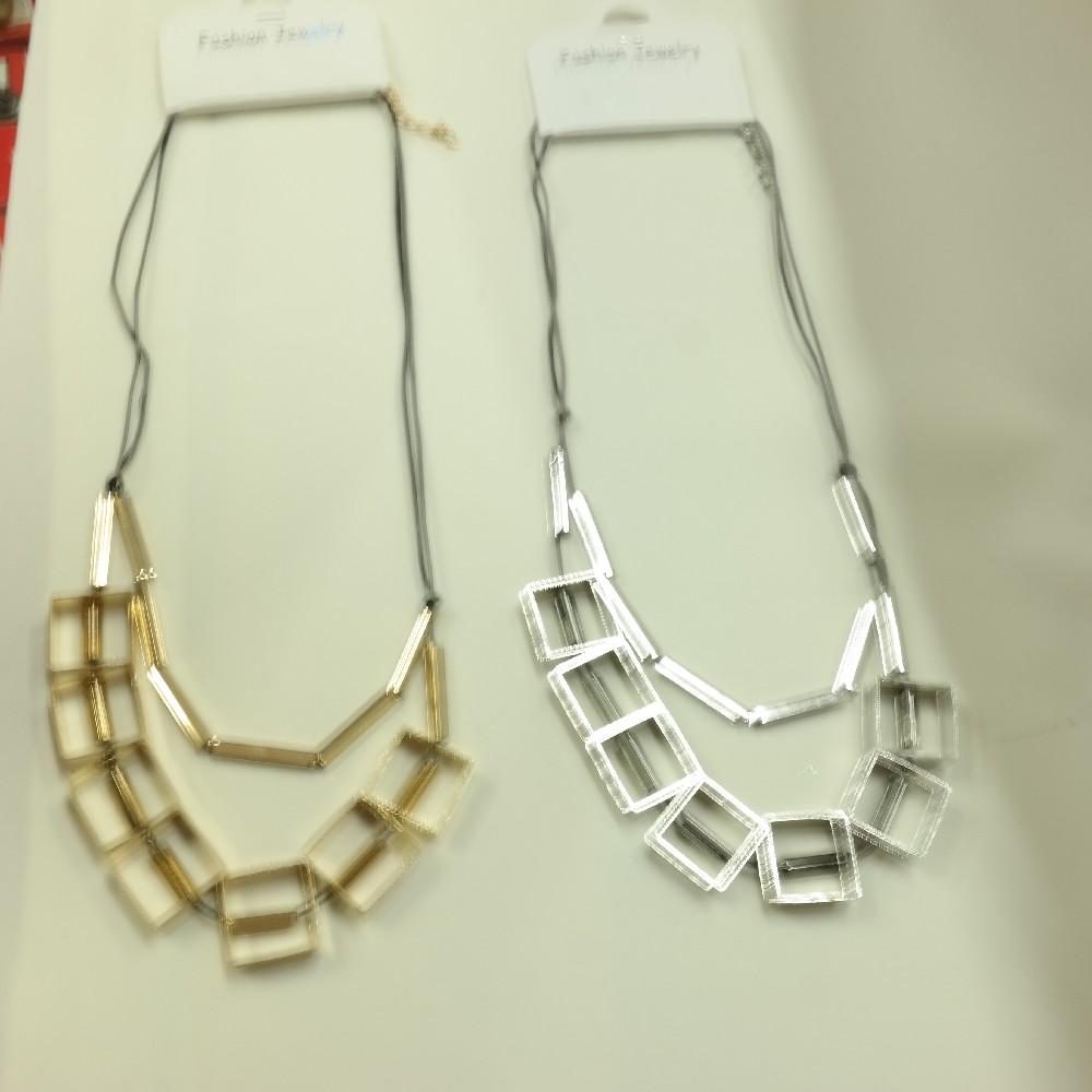 náhrdelník čtverečky zlato a stříbro