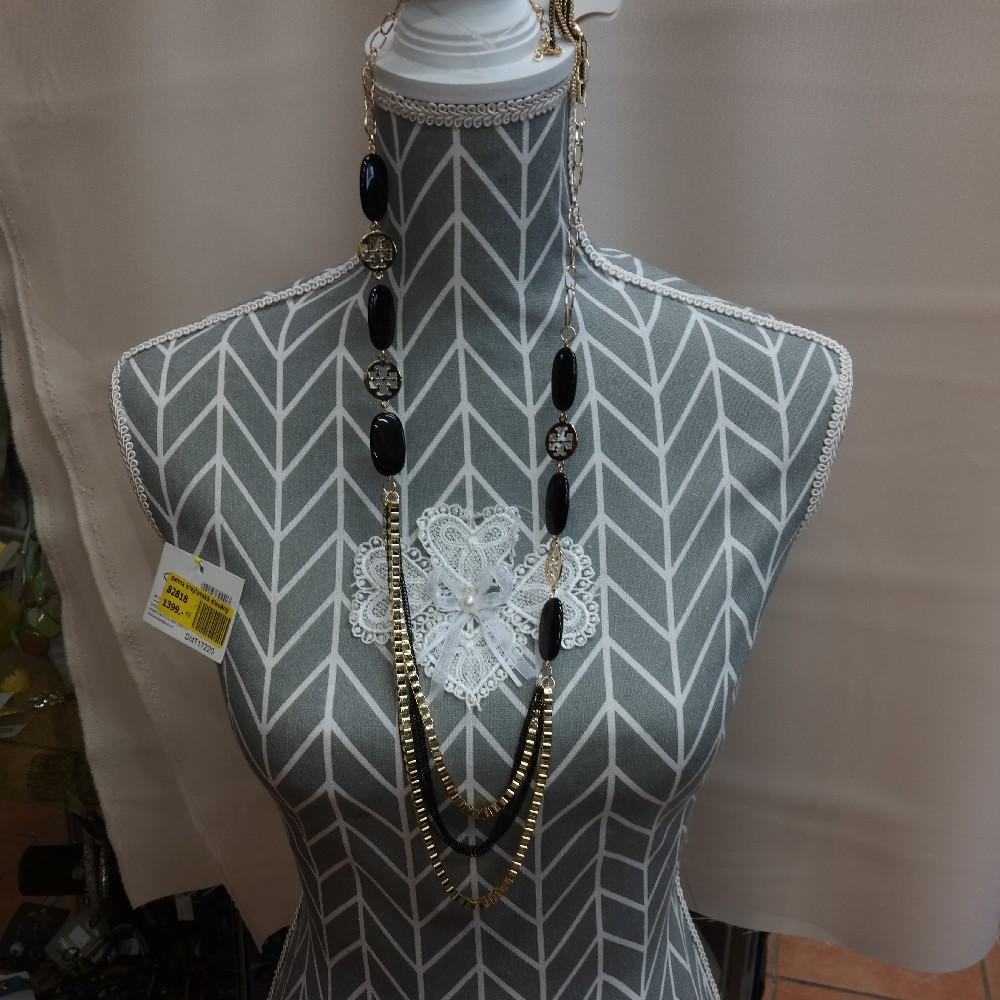 set náhrdelník+naušnice, černozlatý