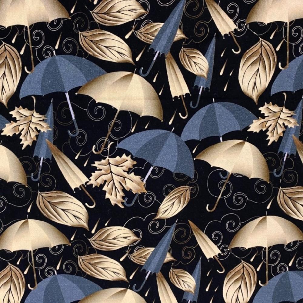 úplet černý zlaté a šedé deštníky