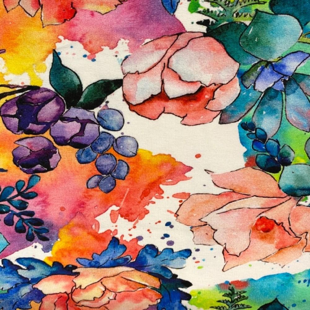 teplákovina květy barevné