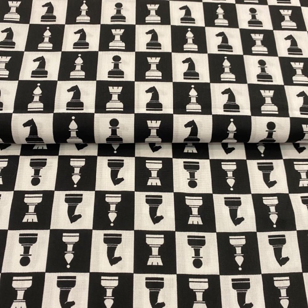 bavlna šachy černo-bílá145cm
