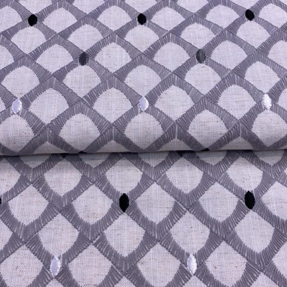 bavlna-len šedá vyšívaná 140cm
