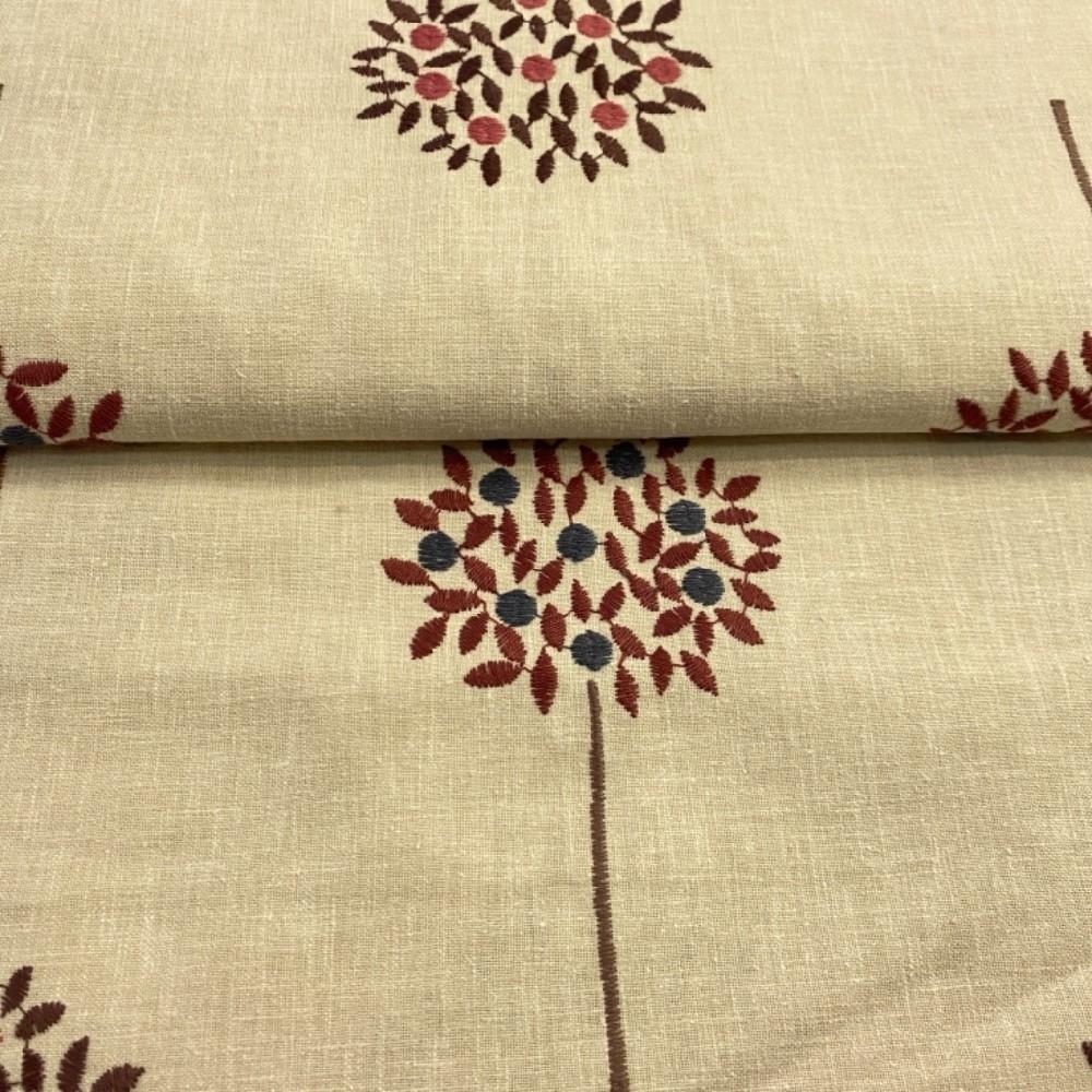 bavlna-len béžová vyšívaná 140cm