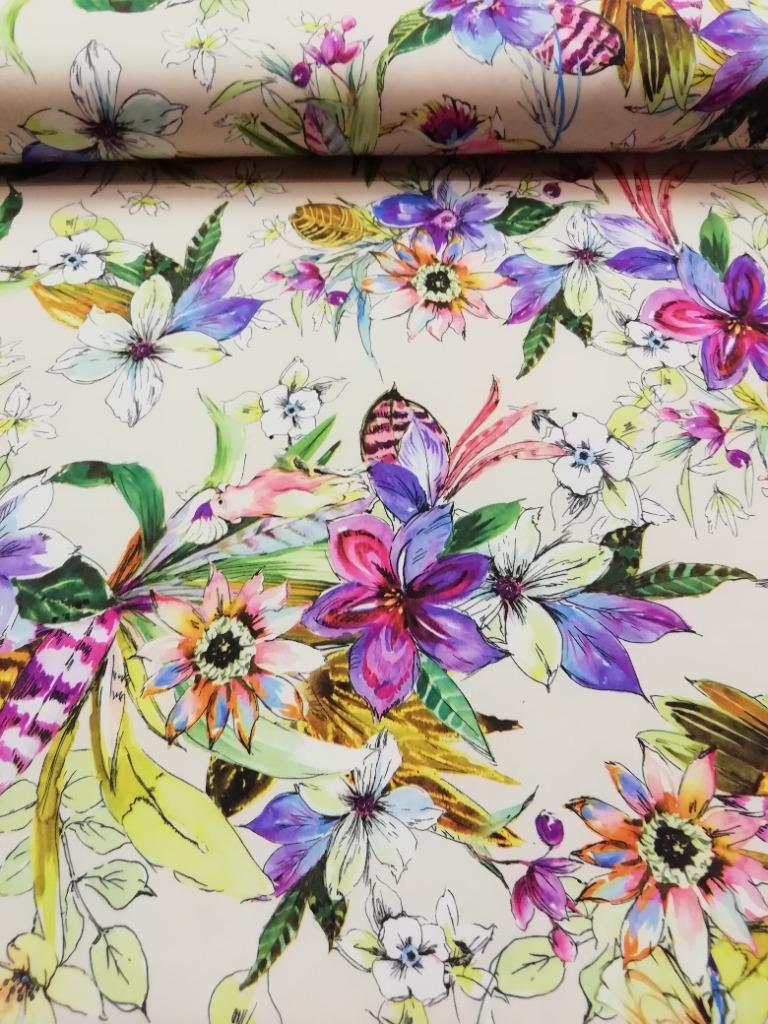 polyester béžový květy