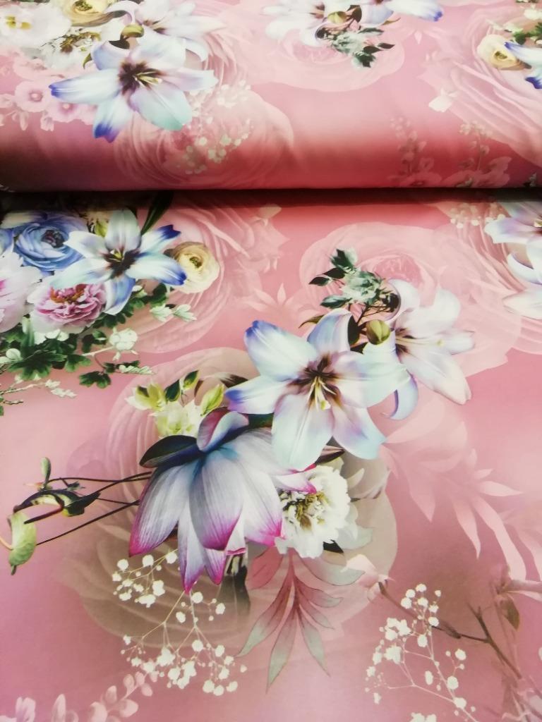 polyester růžový s květy