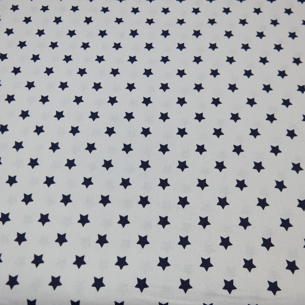bavlna bílá modré hvězdičky