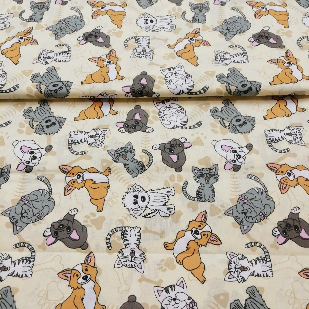 bavlna pejsci a kočičky,š.145cm