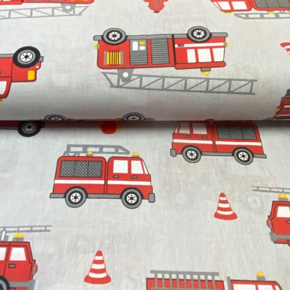 bavlna hasiči šedo/červená