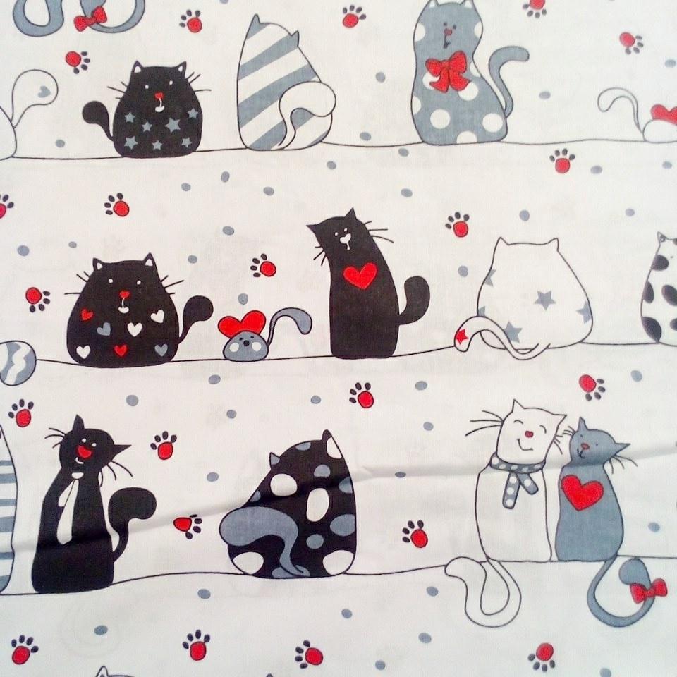 bavlna bílo/šedé kočky