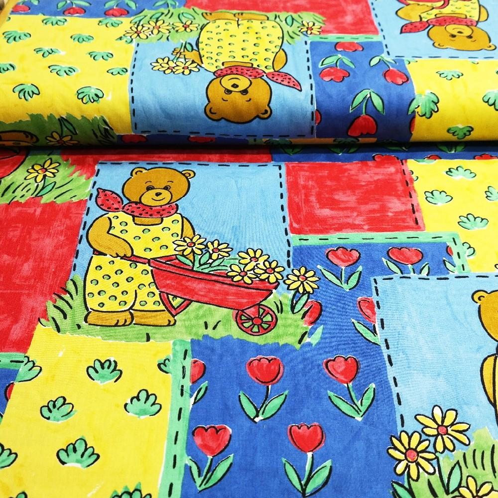 bavlna čer./modro/žlutá medvídek