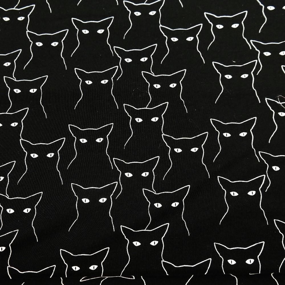teplákovina černá kočky š160