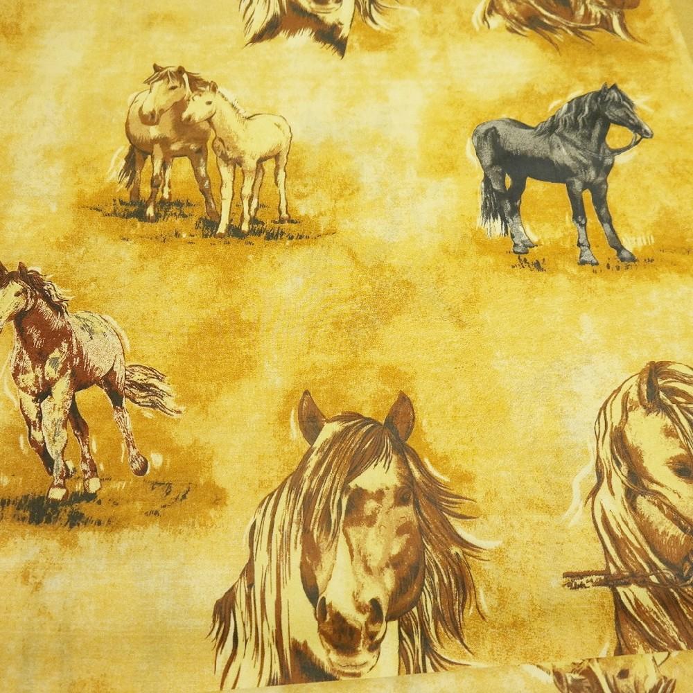 bavlna okr.hnědé koně