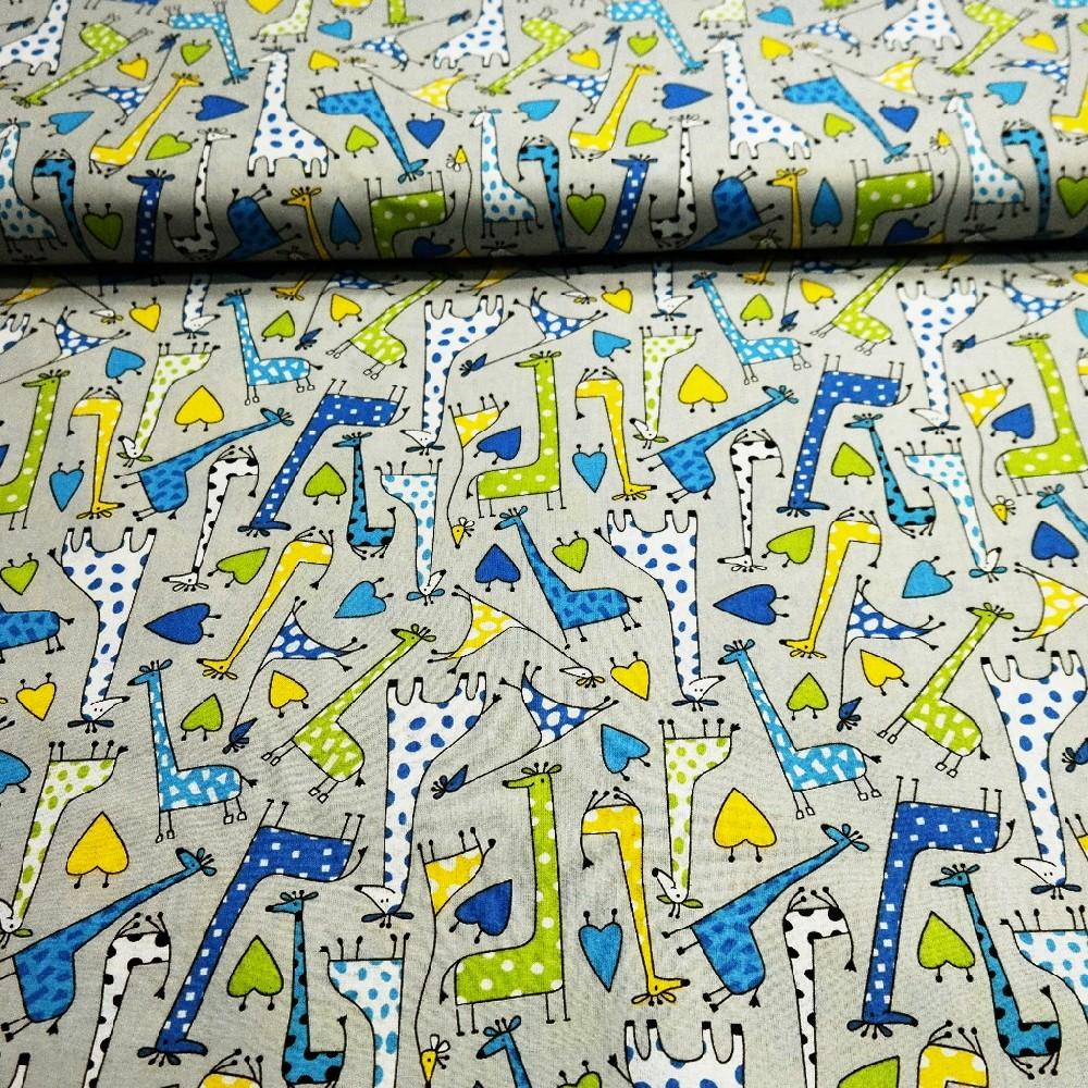 bavlna šedá barev.žirafy