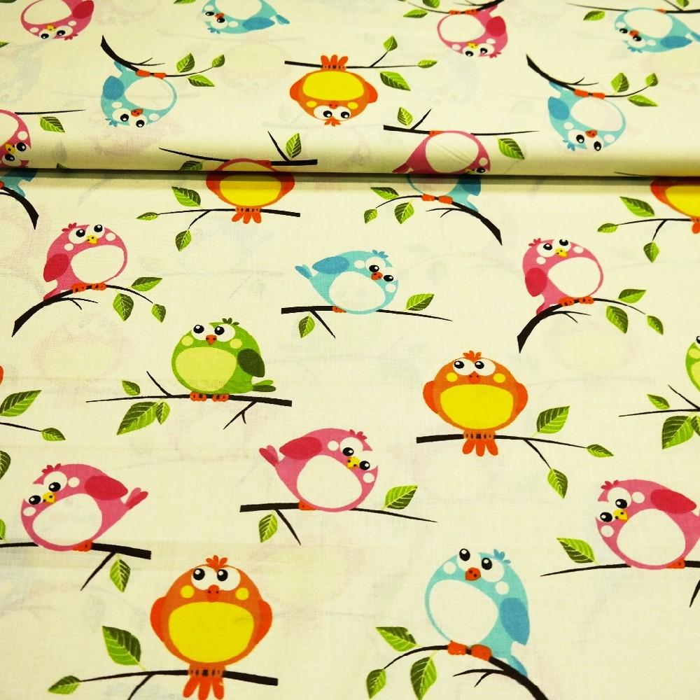 bavlna sv.žlutá ptáčci