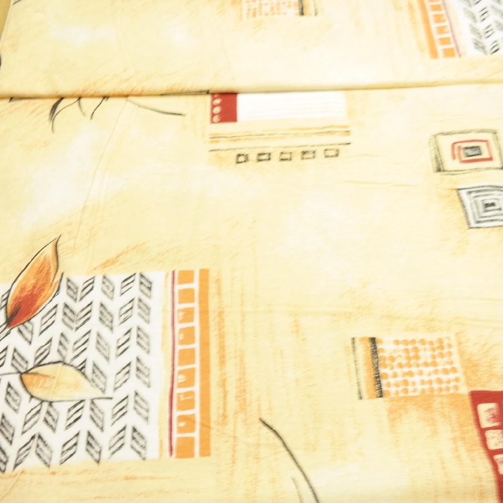 bavlna okrovo/žlutá abstr.vzor