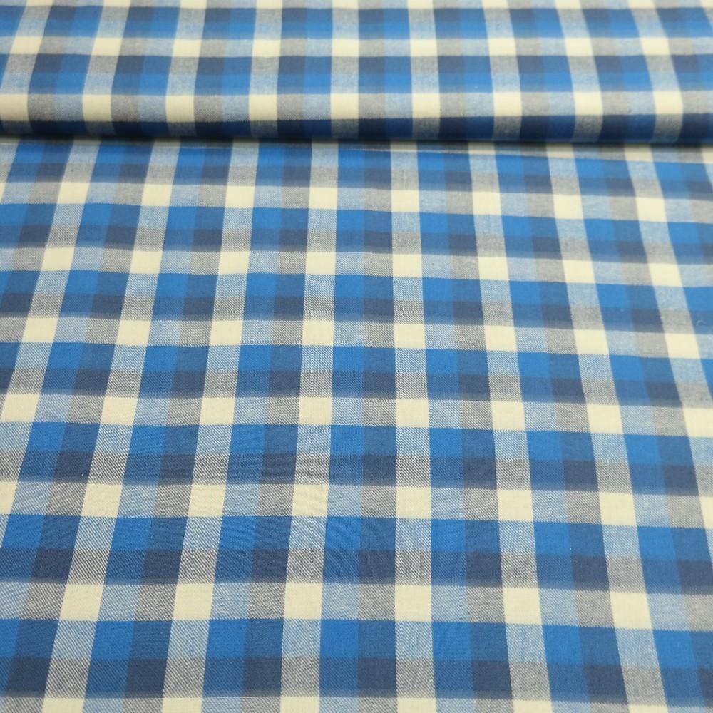 flanel modro/bílá kostka