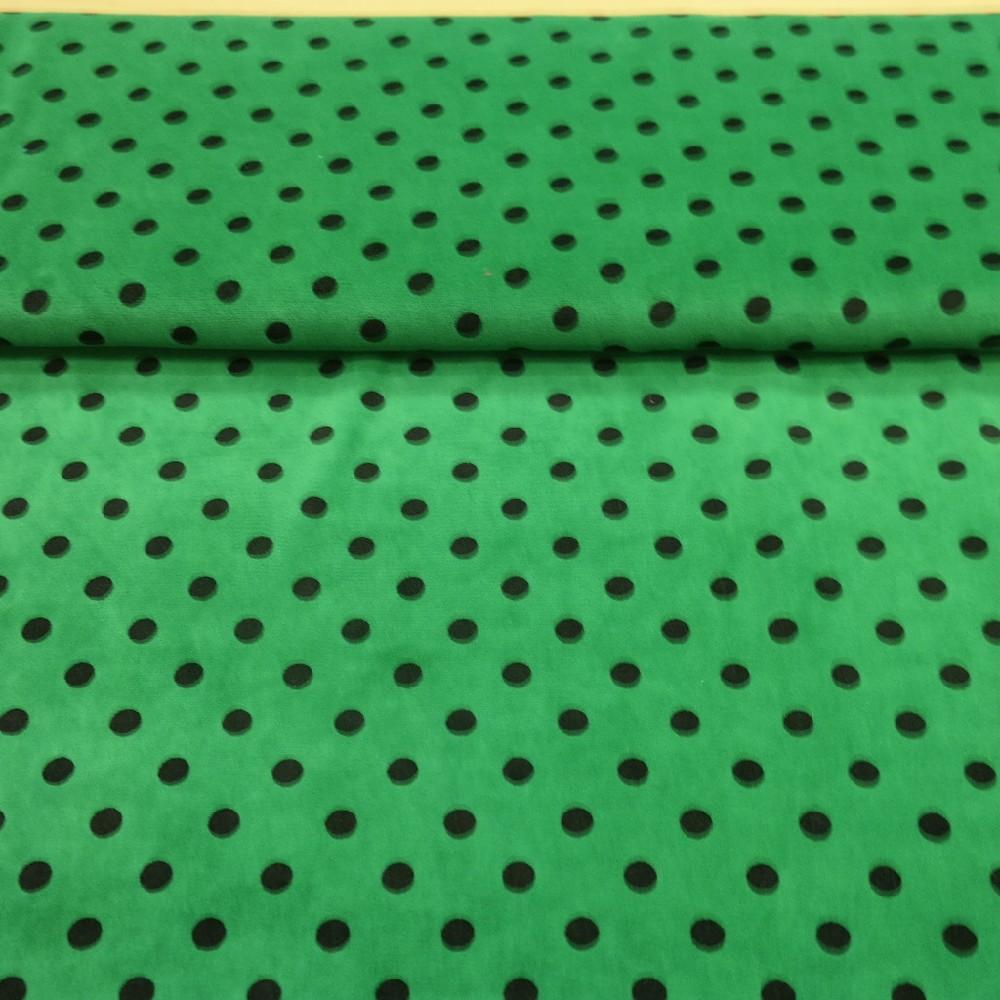 mikroplyš zel.černý puntík