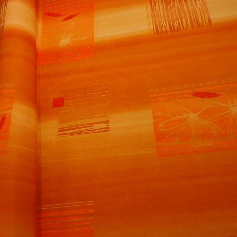 pot. microplyš tisk oranžová kostka květ