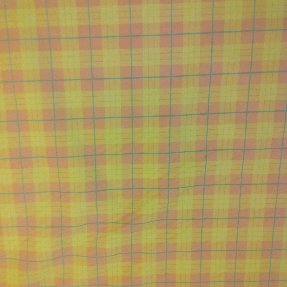 pot. microplyš žluto-oranžová-zelená kostka