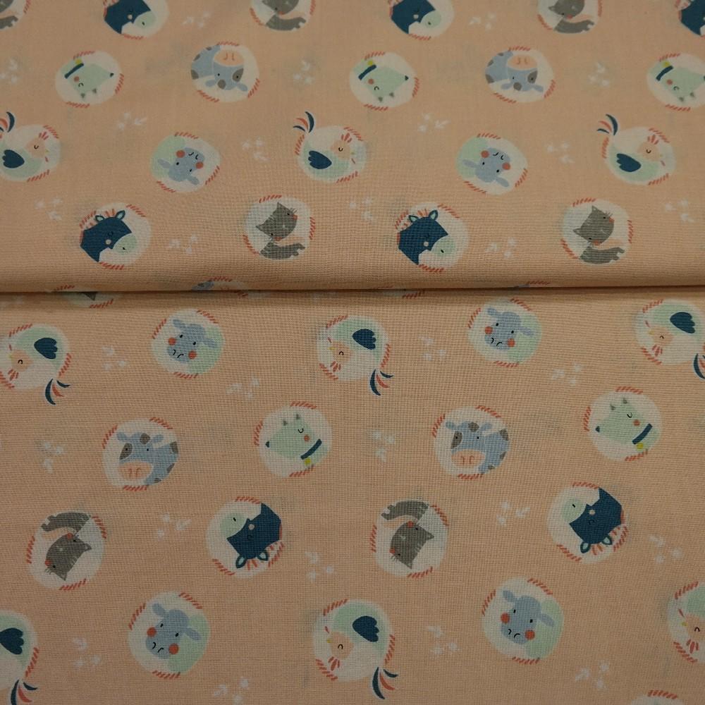 bavlna lososová zvířátka š.110