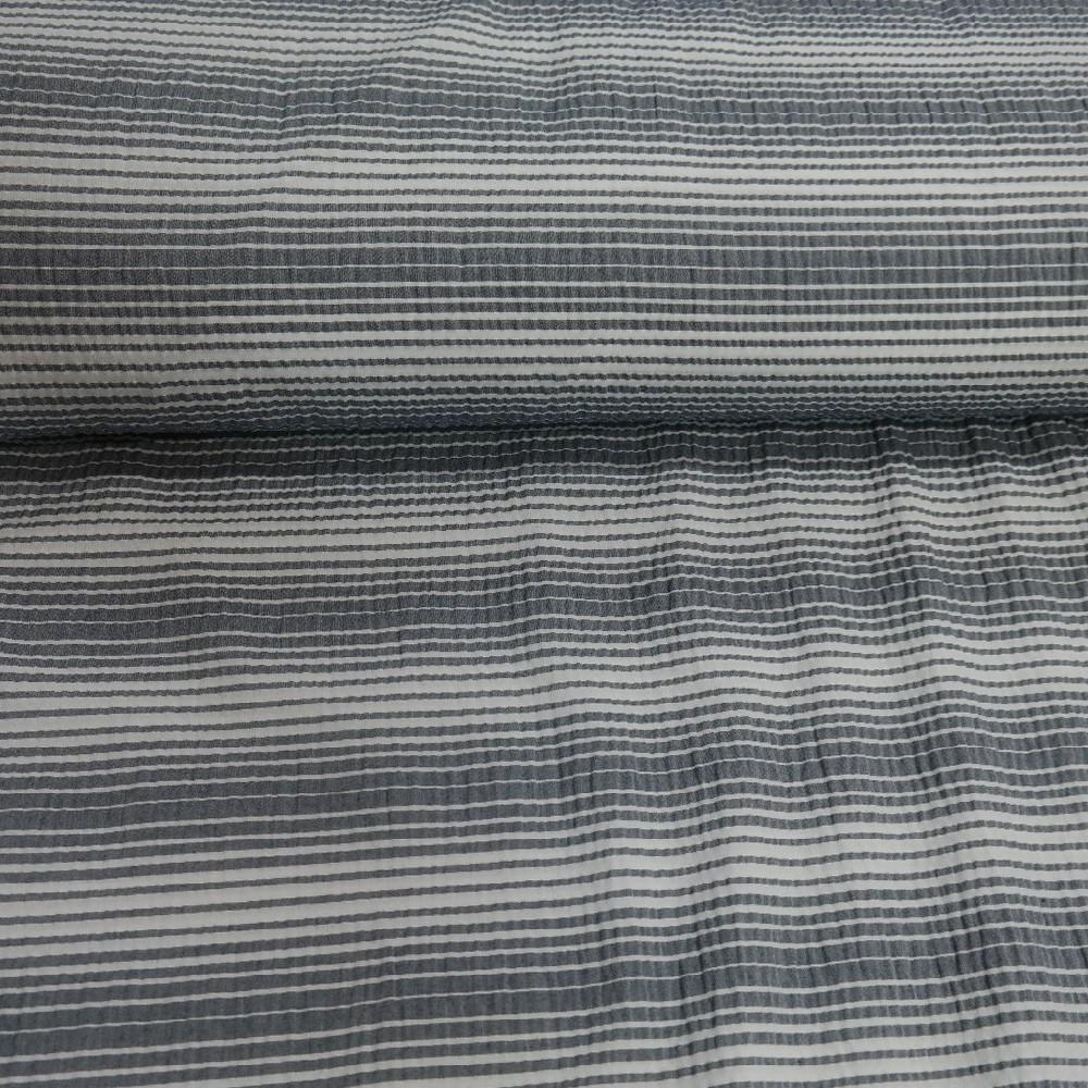 krep bílo-šedý proužek š.145
