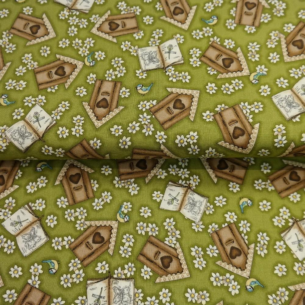 bavlna zelená ptačí budky, kniha š.110