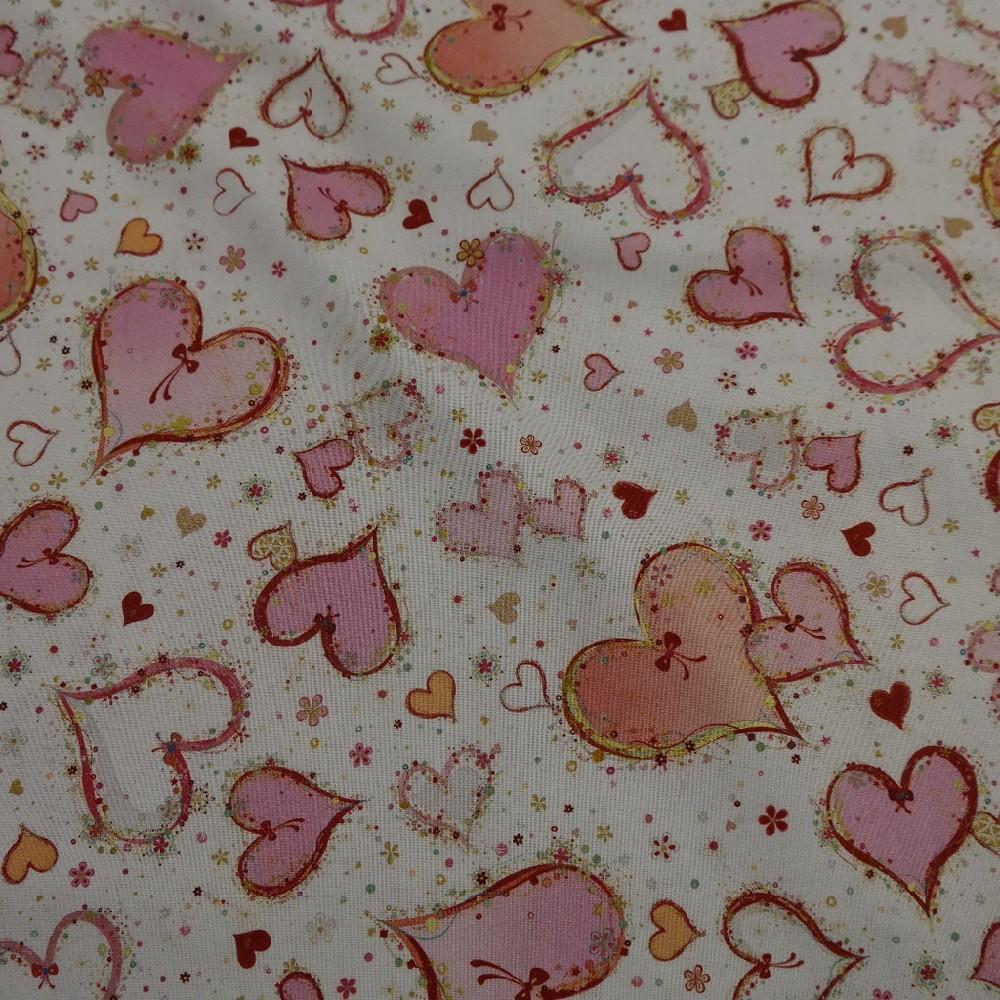 bavlna bílá růžová srdce š.110