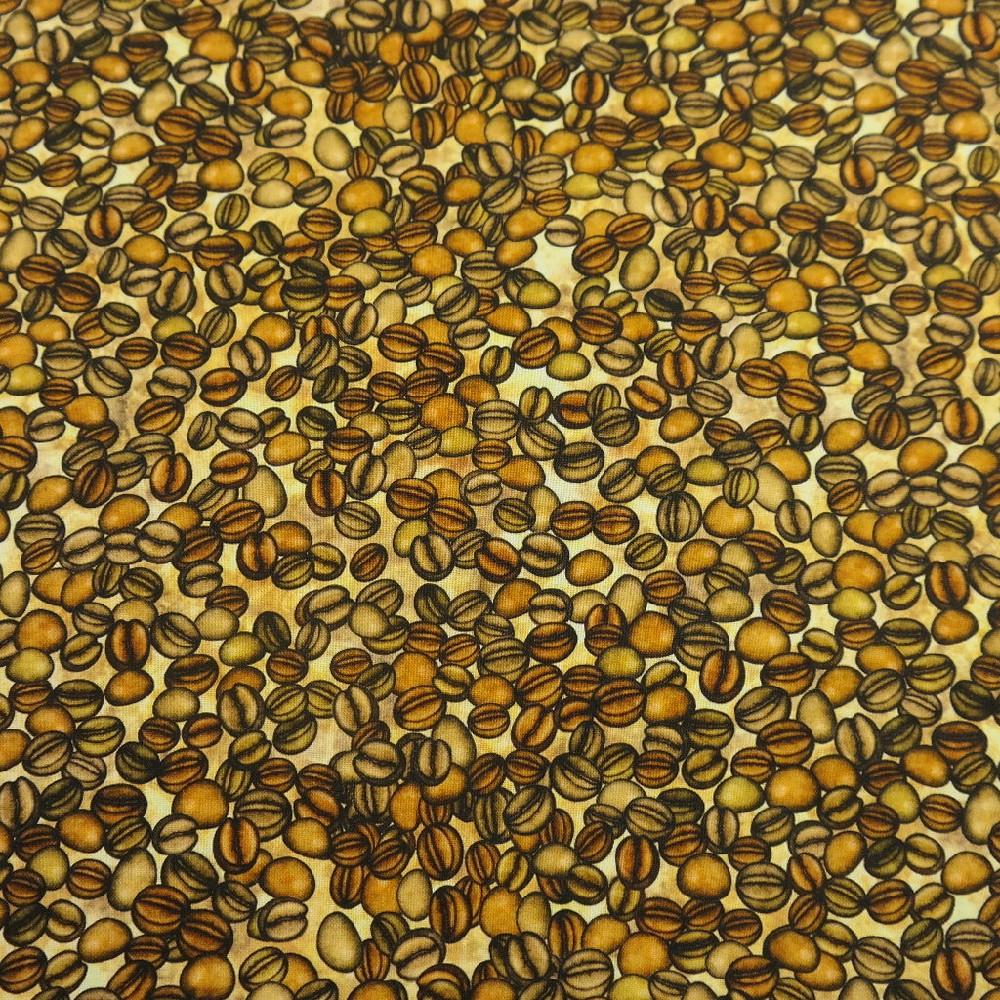 bavlna hnědá kávová zrna š.110
